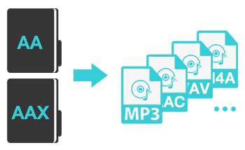 aa to mp3, aax to mp3, m4a, m4b, aac