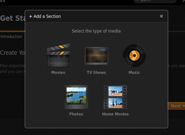add section for plex server