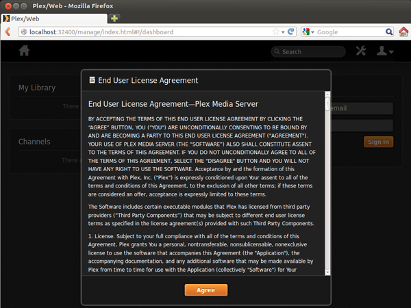 agree to the license agreenment of Plex media server