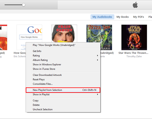 create new playlist for audiobooks