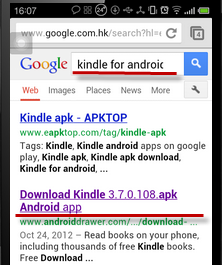 search kindle on android device browser
