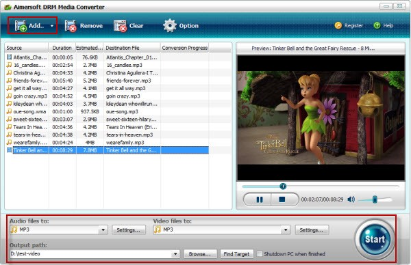 add aa files to aa to mp3 converter